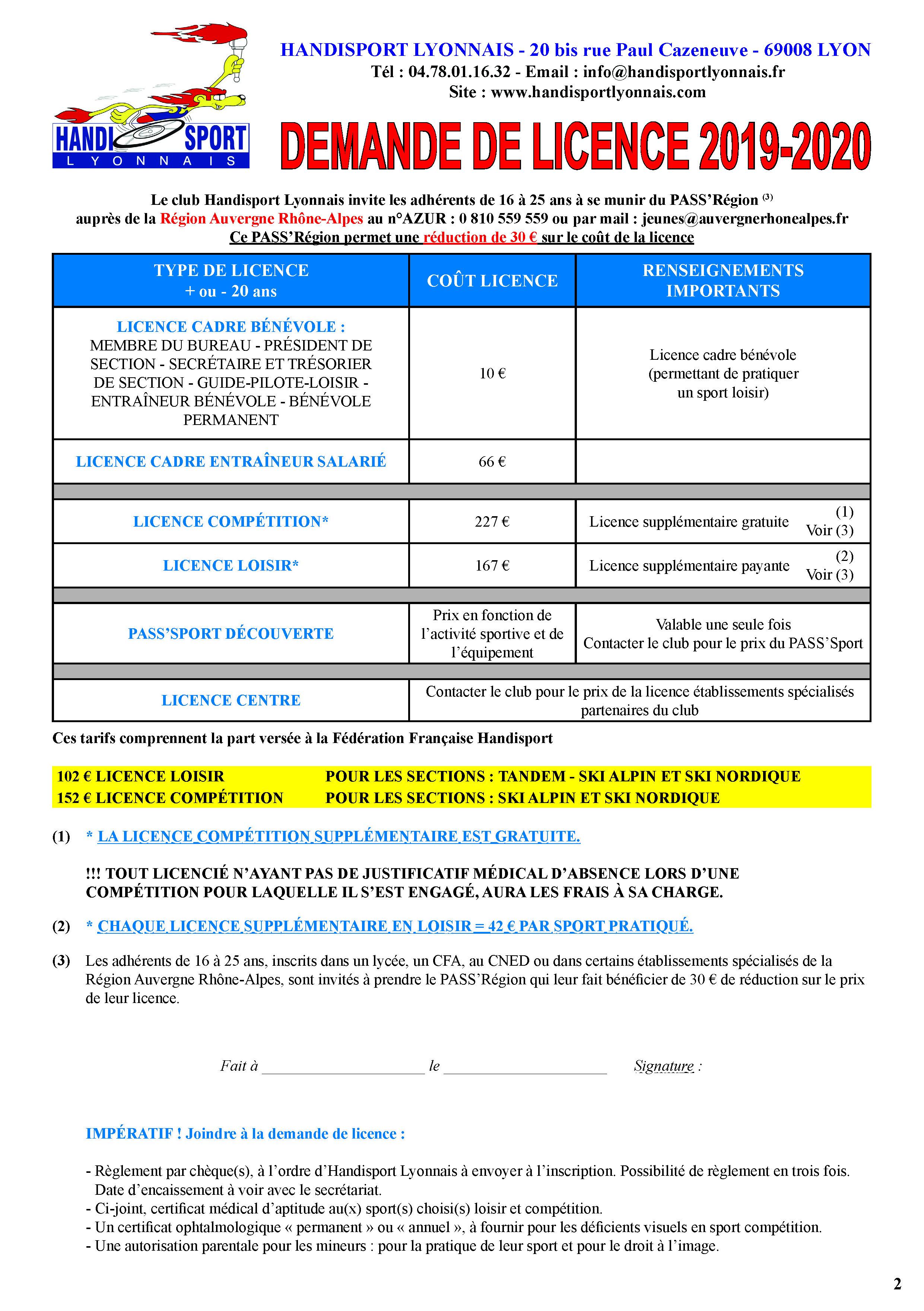 Dossier-inscription-Handisport-Lyonnais 2019-2020