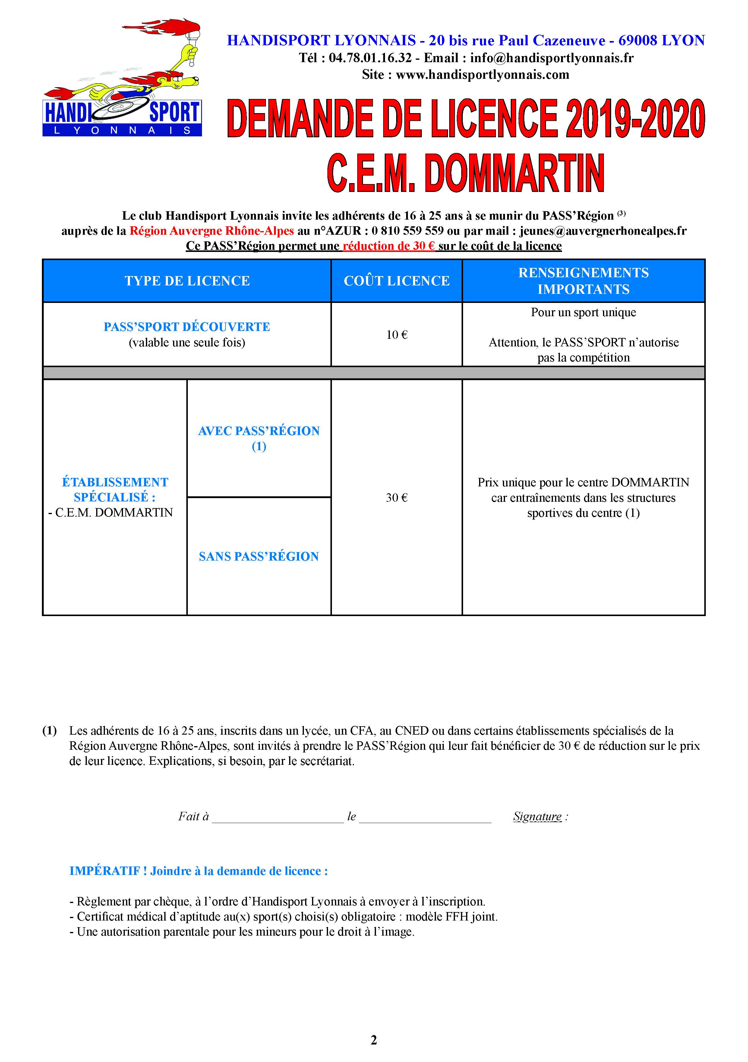 Dossier-inscription-Handisport-Lyonnais 2019-2020 pour le C.E.M. DOMMARTIN
