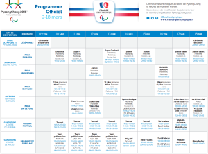 calendrier paralypiques 2018
