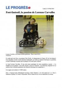 Article Foot Fauteuil du 16 Mai 2016 Journal Le Progrès - copie