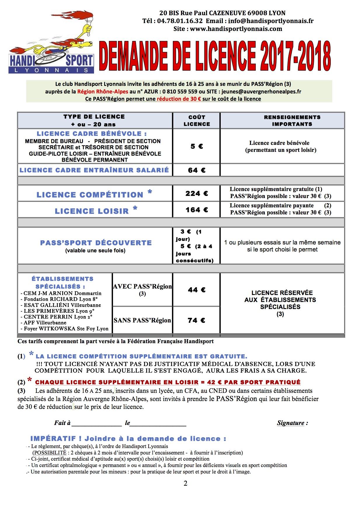Licence Handisport Lyonnais