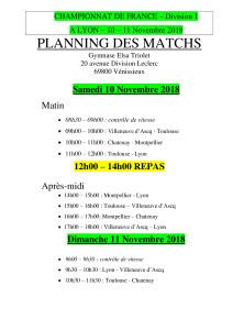 Planning D1 Lyon 10 et 11 Novembre 2018