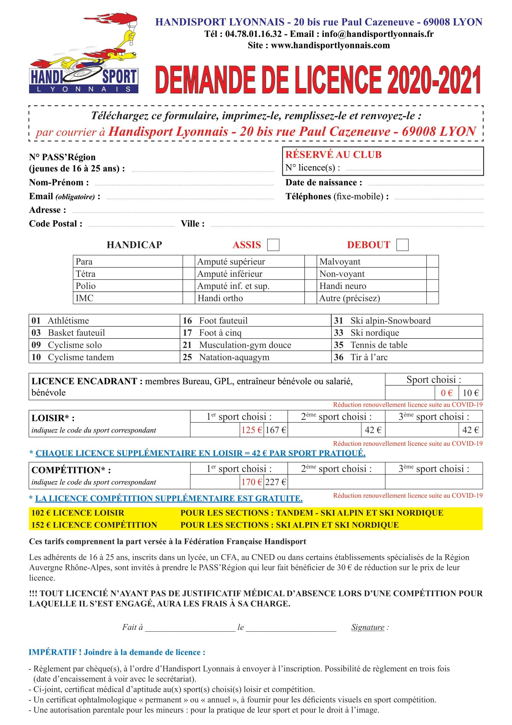 Dossier-inscription-Handisport-Lyonnais 2020-2021